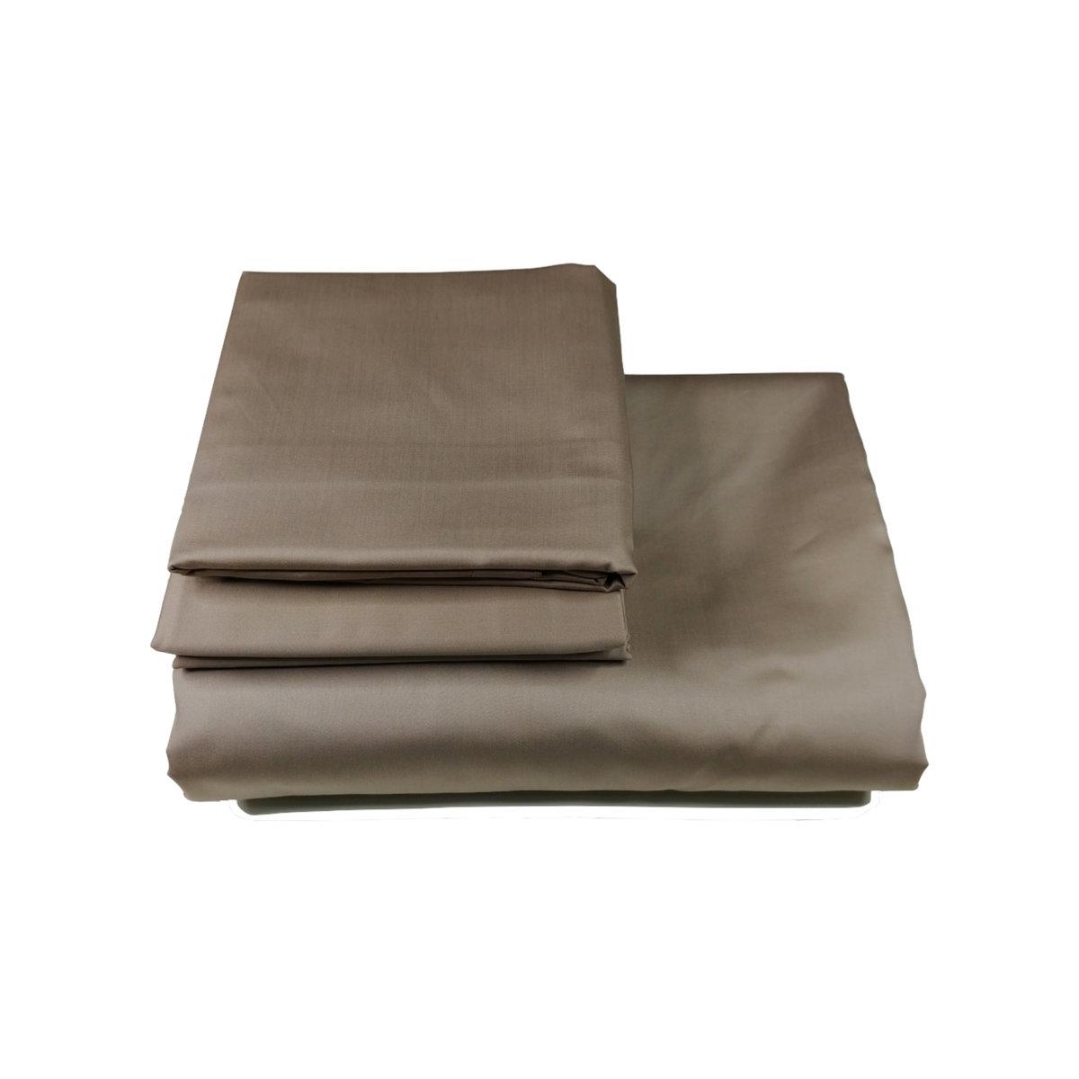 雙人【灰褐】三件裝:枕頭套+被袋 名酒店專用 瑞士認證 高針數100% 頂級埃及棉