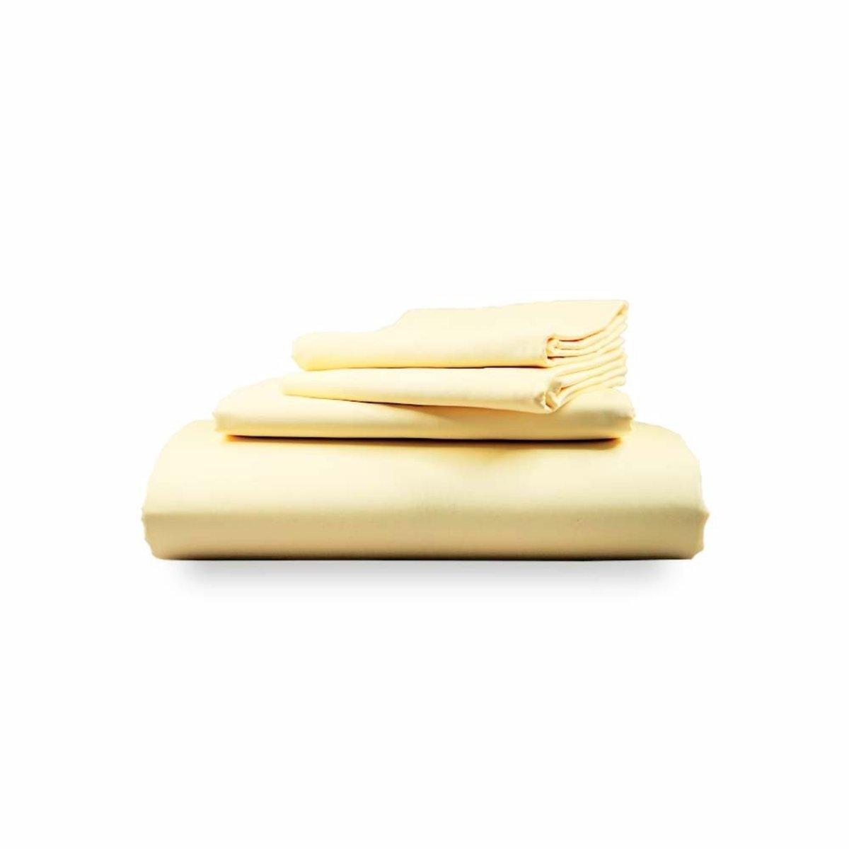 雙人【象牙】四件裝:床笠、床單、2枕頭套 名酒店專用 瑞士認證 高針數100% 頂級埃及棉
