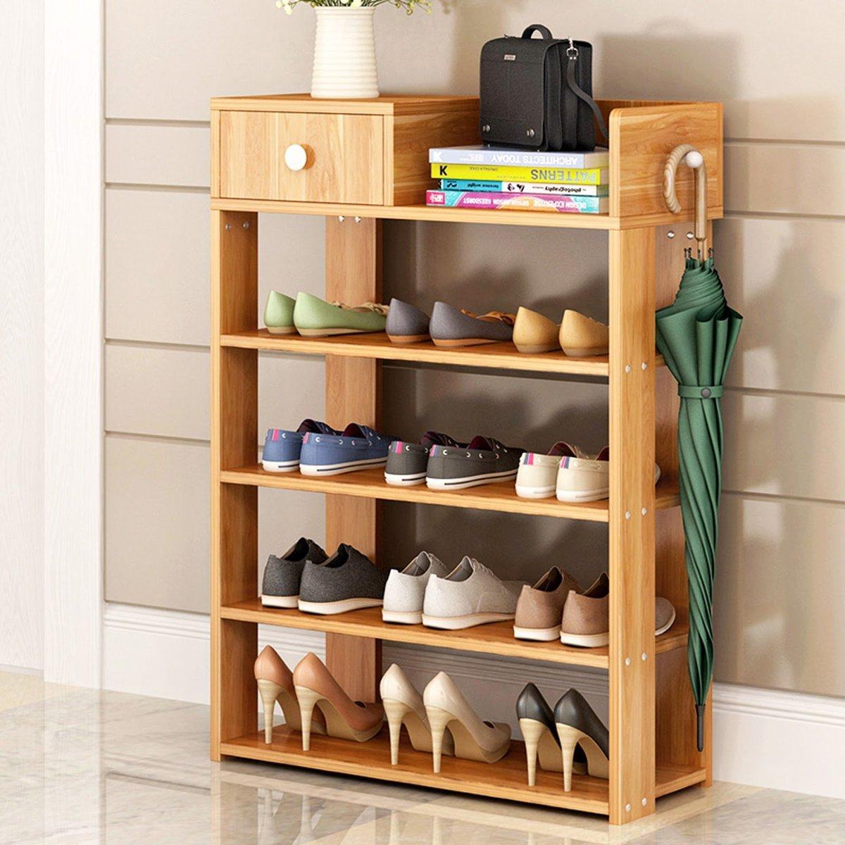 五層組合式木制 鞋架 層架 鞋櫃 實用儲物架 雨傘架 - 65