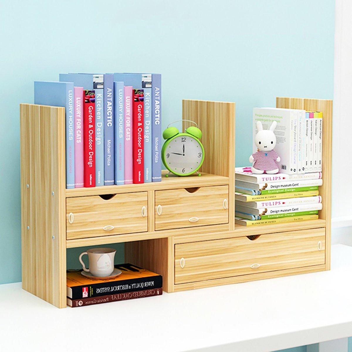 創意多用途組合式桌面木書架 書櫃 實用儲物架 抽屜款