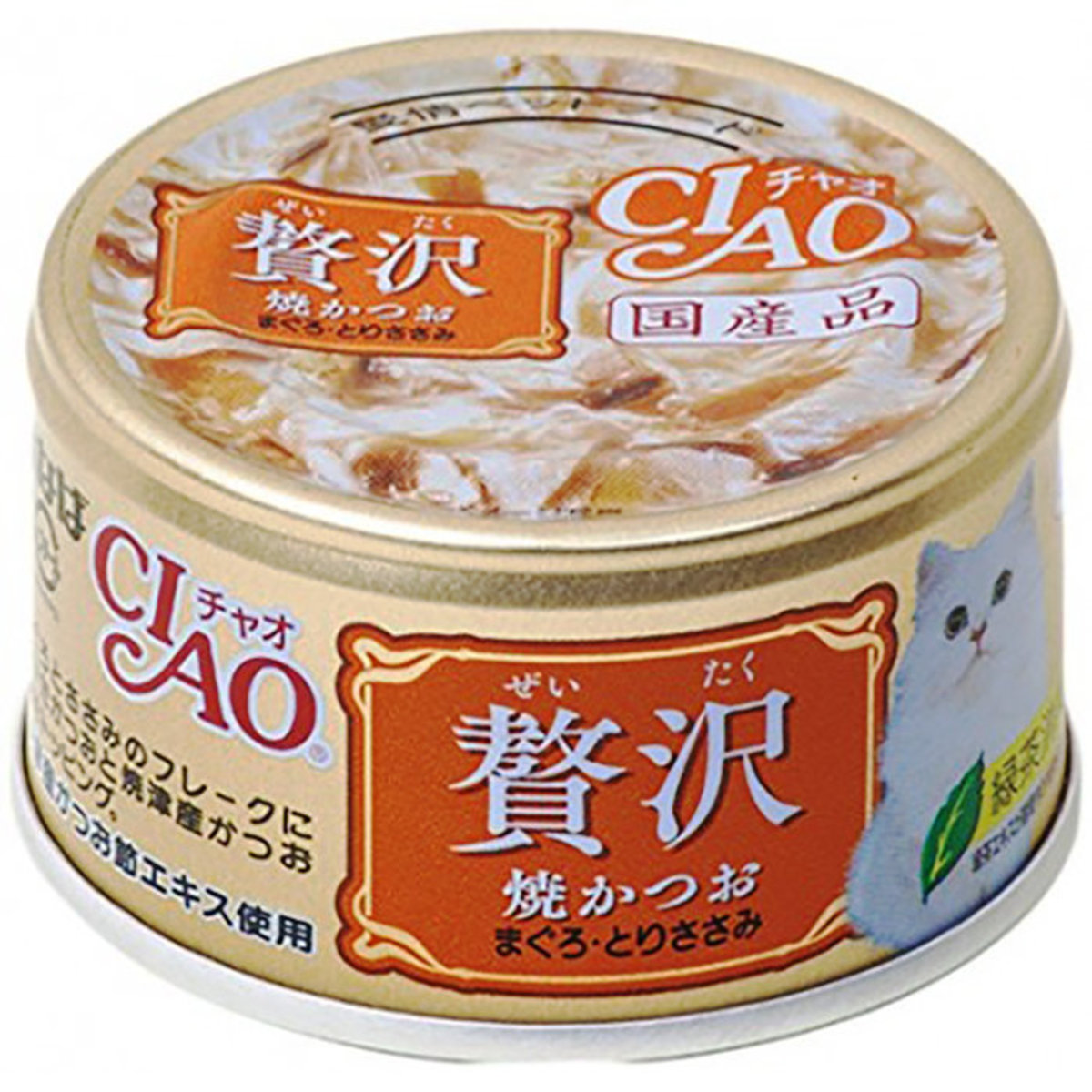 CIAO Luxury Canned Cat Food - Grilled Bonito Tuna Chicken 80g