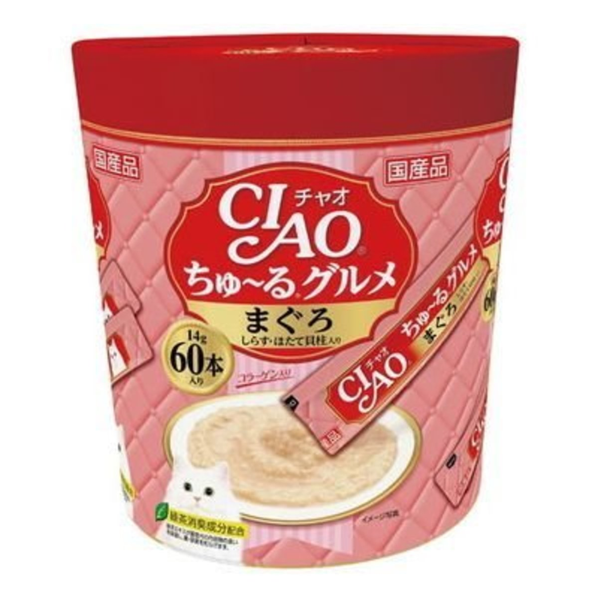 CIAO Churu Cat Food Treat Paste Party Mix - Tuna Whitebait Scallop 14g x60p [Pink]