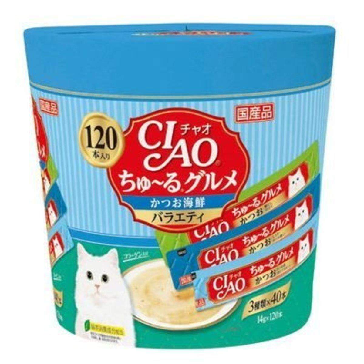 CIAO Churu Cat Food Treat Paste Party Mix - Seafood 14g x120p [Blue]