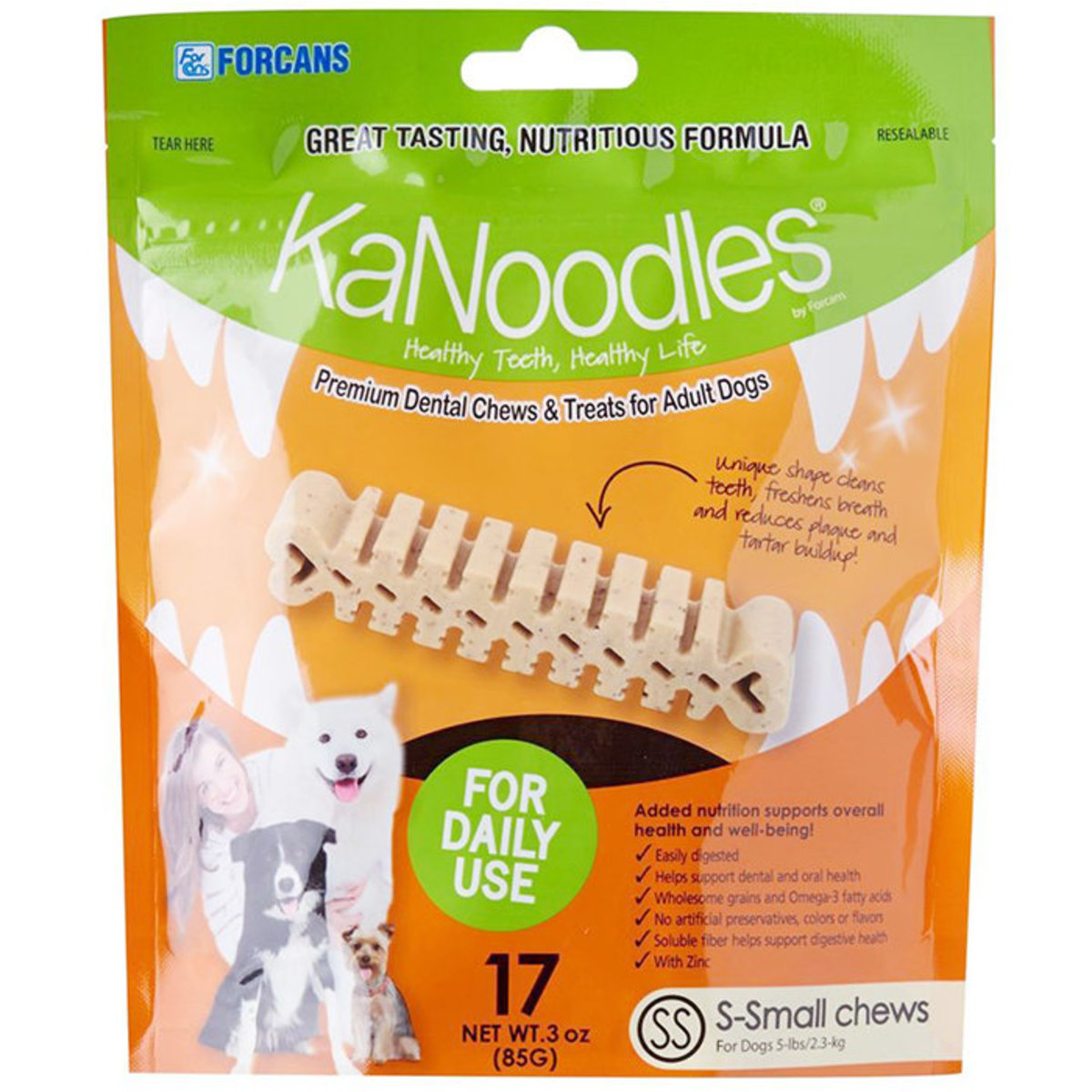 KaNoodles Premium Dental Chews & Treats for Adult Dogs SS 3oz 17pcs