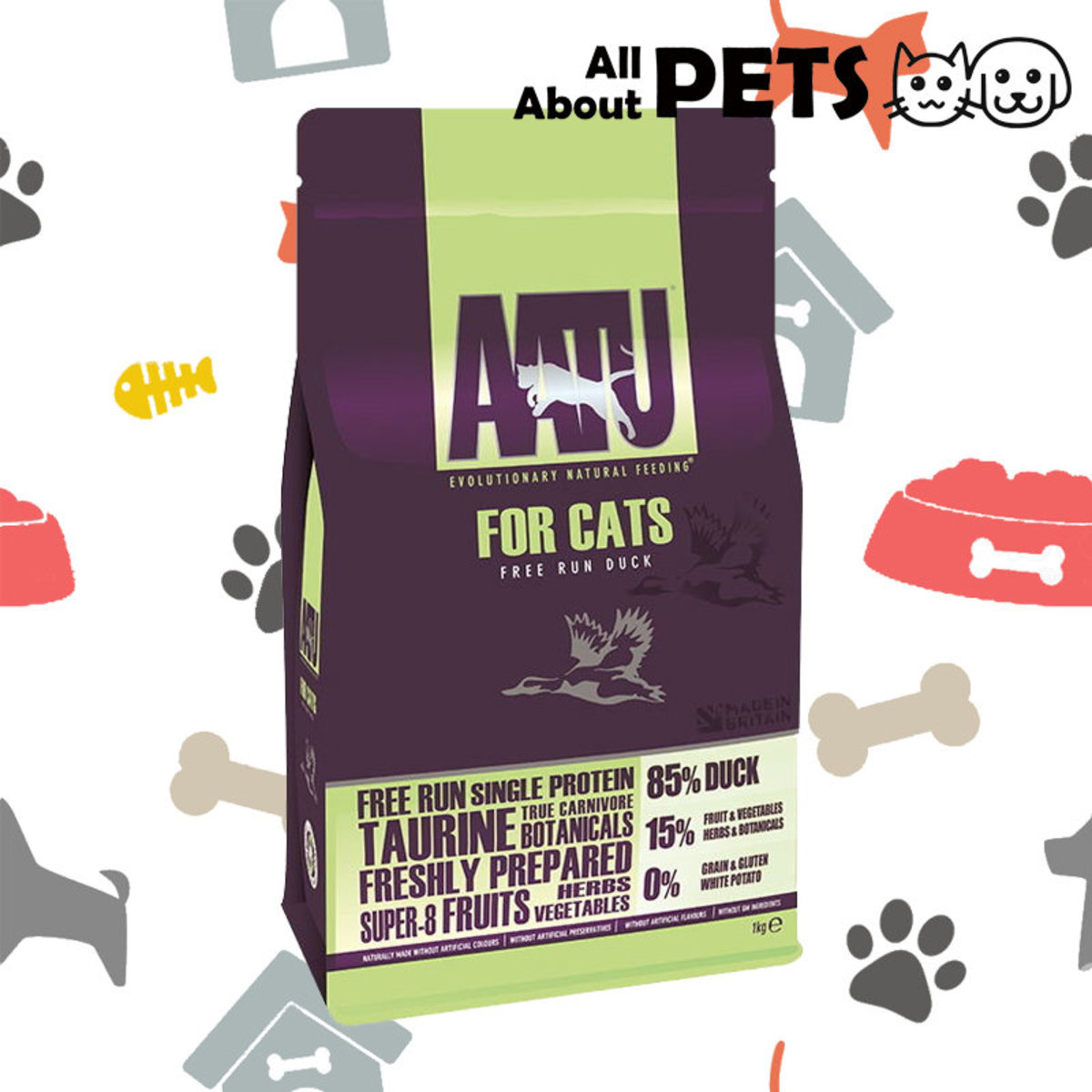 Cat Dry Food Anti-Allergic Stocking Duck Natural 1KG