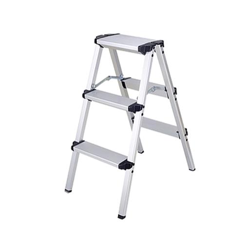3-step aluminum folding ladder - HG793816 (Silver)