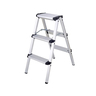 3-step aluminum folding ladder - HG793816 (Silver)