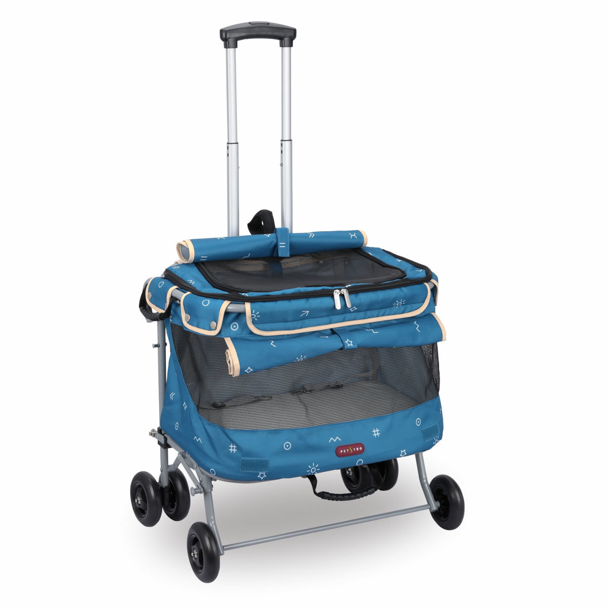 215A Petstro-寵物推車 輕旅行(加大型)-2代 (藍色幾何)