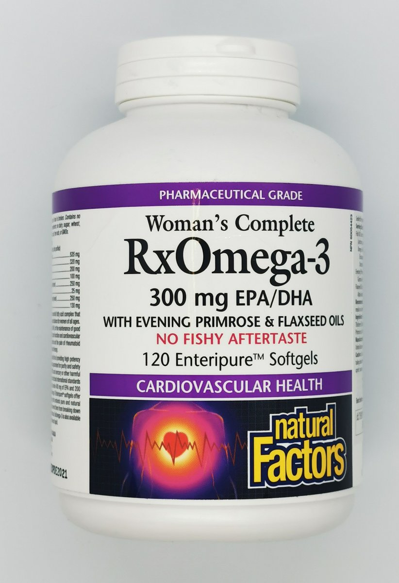 Woman's complete Rx Omega 3 with Evening Primrose and flaxseed oils 120 Enteripure Softgels