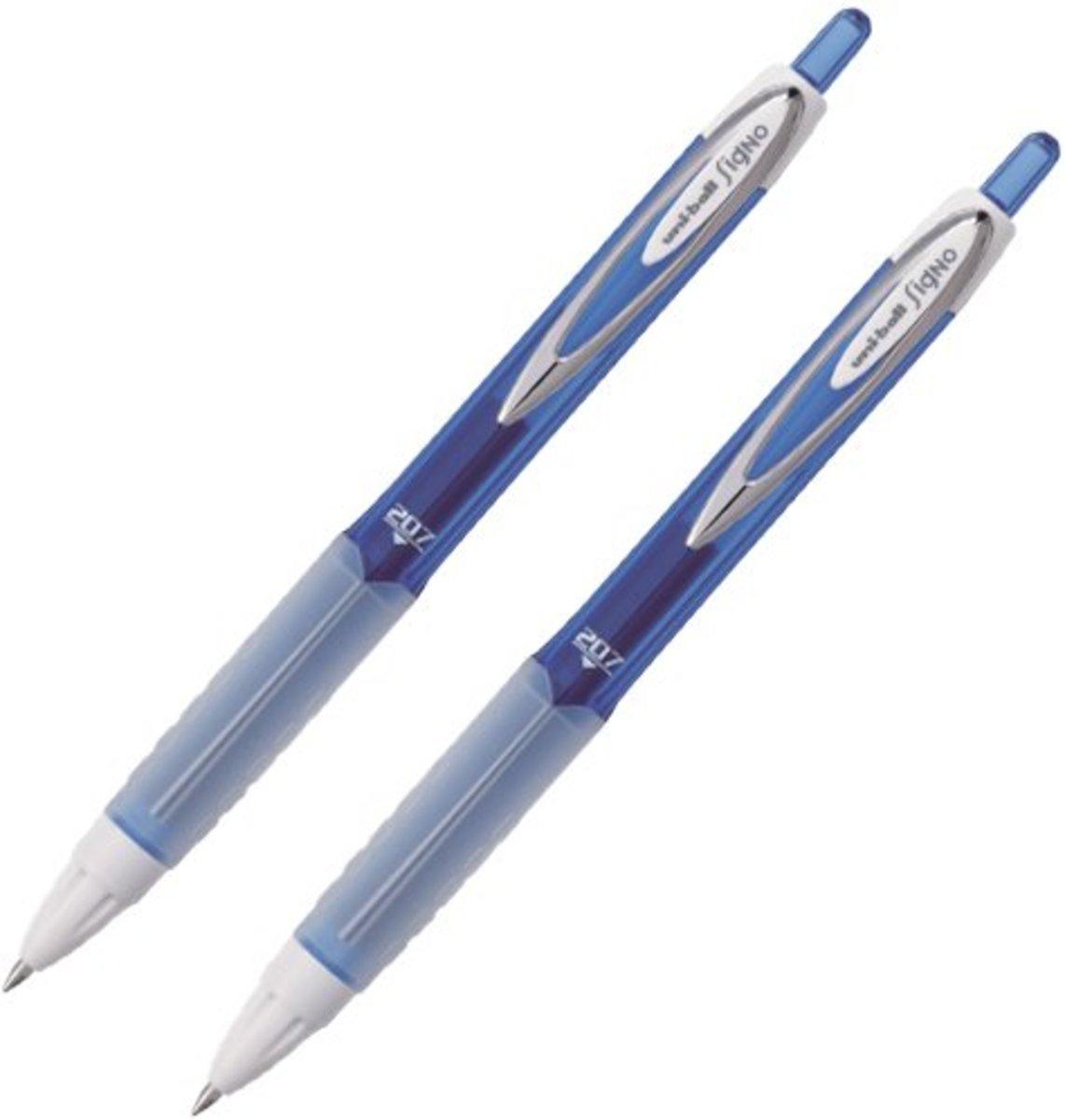 Signo UMN-207F Retractable Gel Ink Pen 0.7mm (Blue) X 2
