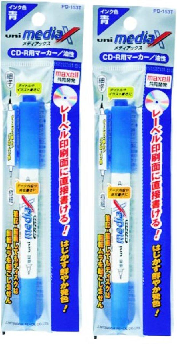 Double Head CD Marker PD-153T 0.4/0.9mm (Blue) X 2