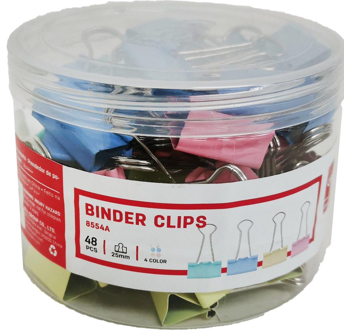 Colourful Binder Clips 8554A 25mm (48pcs/box)