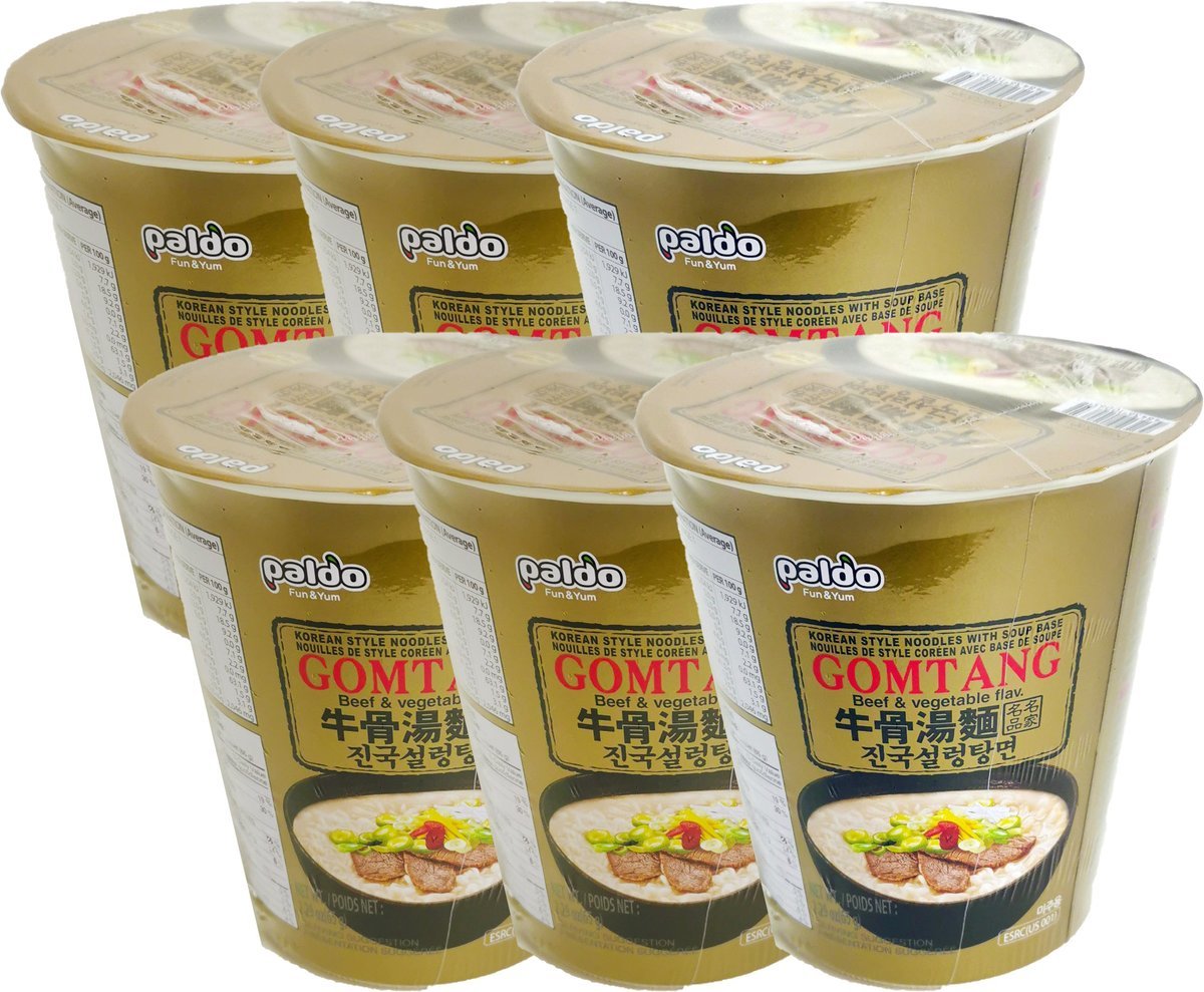 [Cup] Korean Style Noodles with Soup Base (Beef & Vegetable Flavor) (65g X 6)