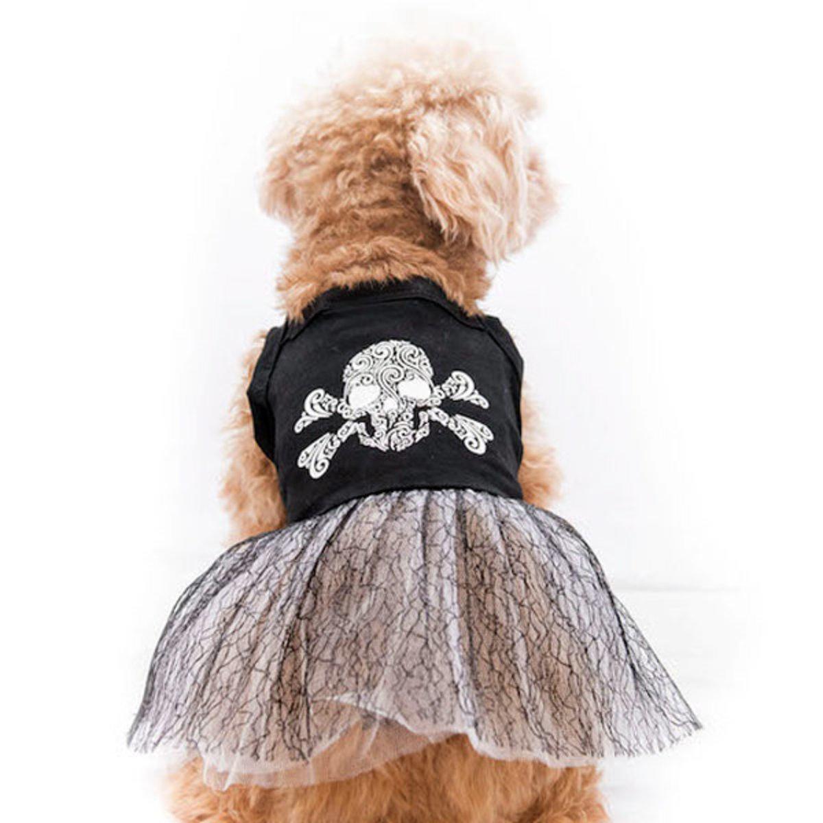 骷髏頭裙 萬聖節狗女裙 夏季寵物服