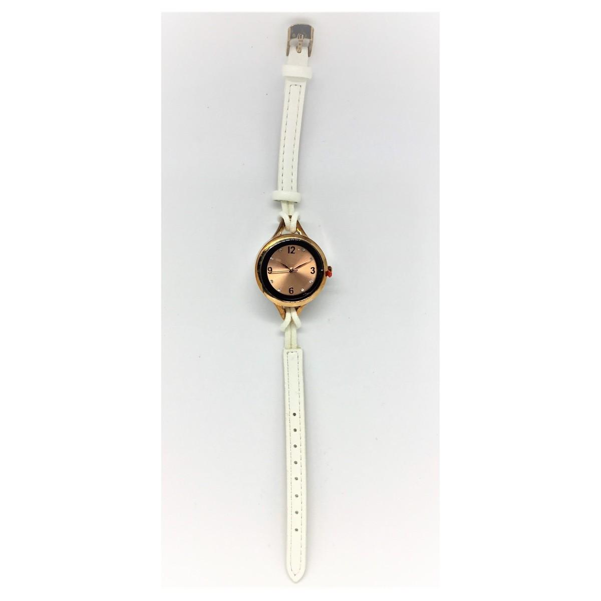 優雅石英女裝皮帶時款腕錶-白色
