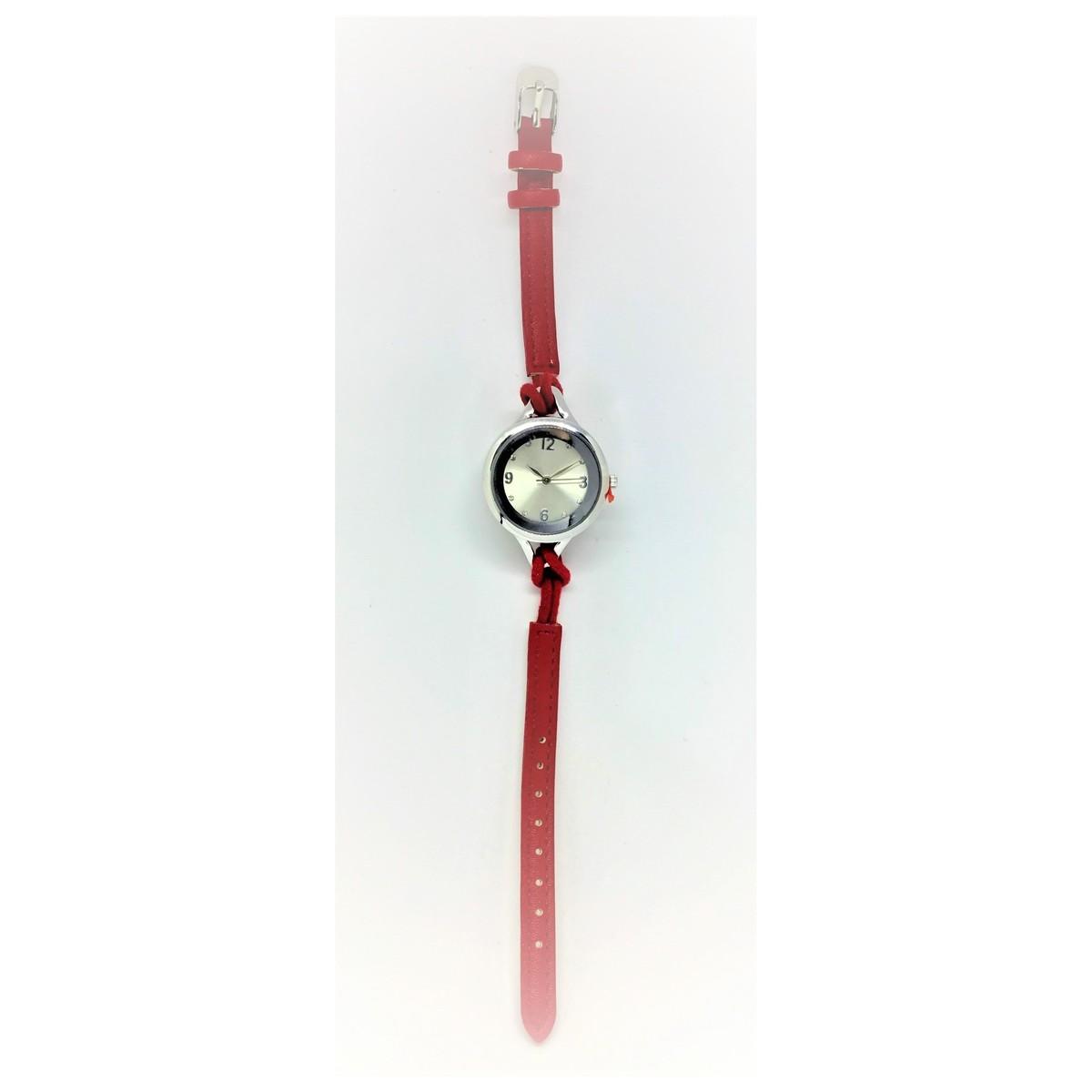 Elegant Quartz Lady Leather Fashion Wrist Watch - Red