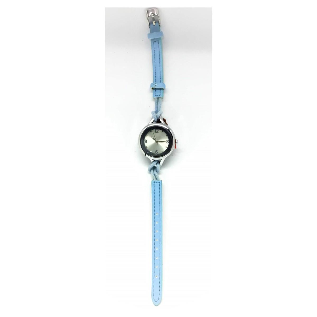 Elegant Quartz Lady Leather Fashion Wrist Watch - Light Blue