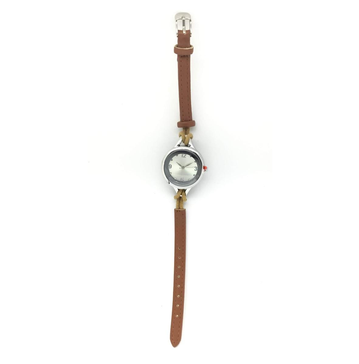 Elegant Quartz Lady Leather Fashion Wrist Watch-Brown