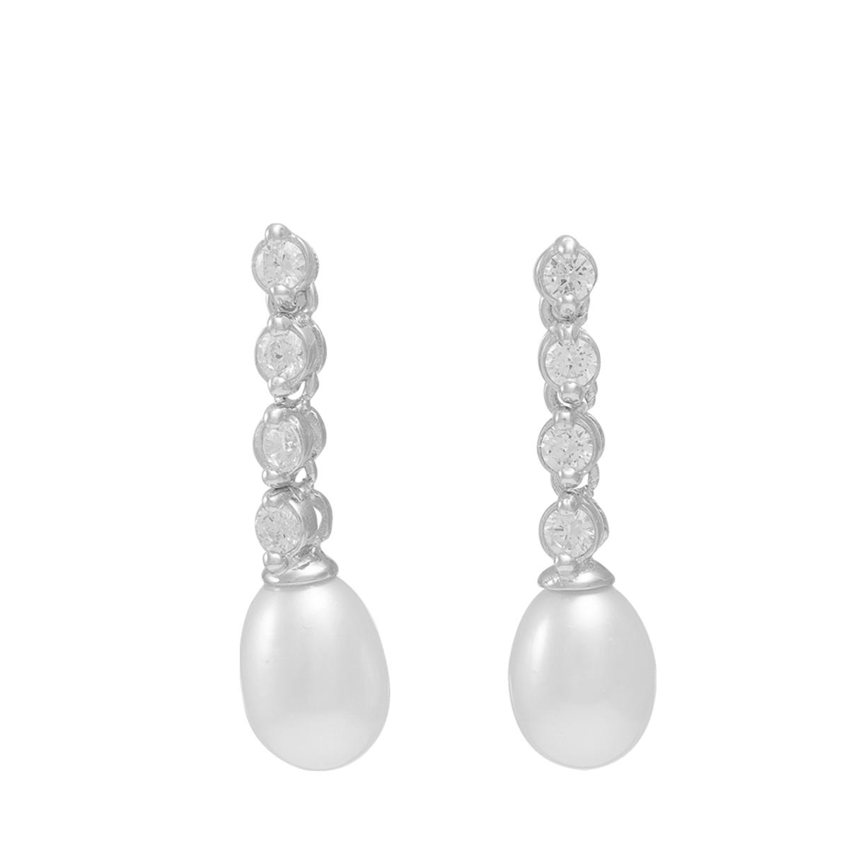 Paul Vallette Jewellery Fashion Crystal Diamond Freshwater Pearl Earrings – PVE5003-S