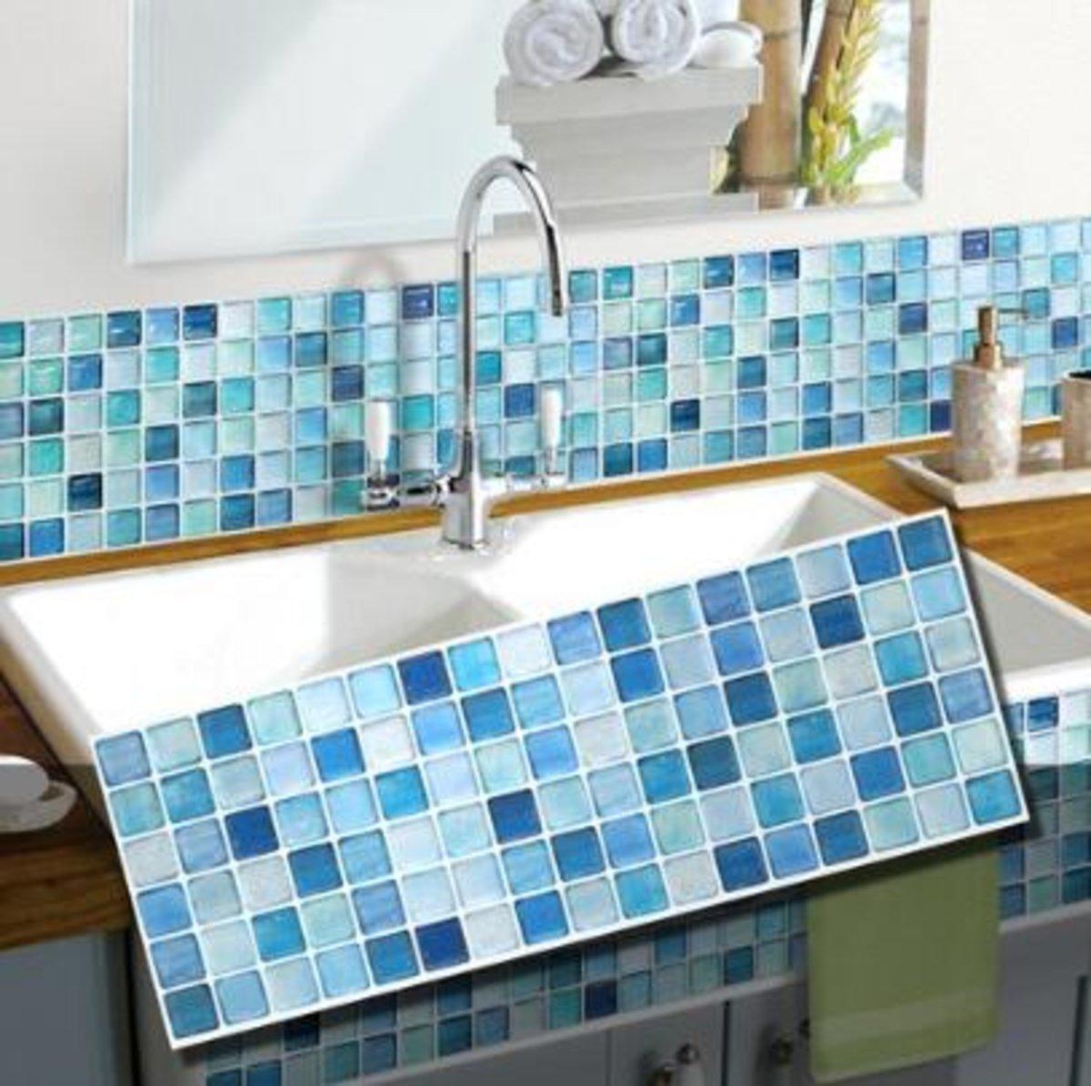 3D 浴室及廚房多功能牆紙貼_藍馬賽克瓷磚