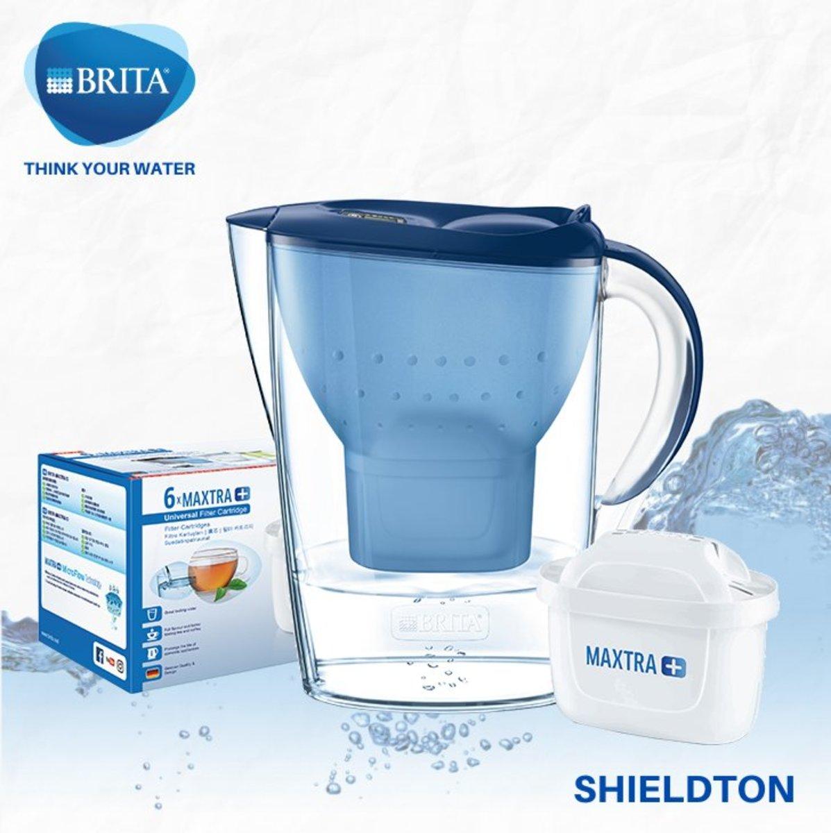 Marella 2.4L jug w/1 + pack of 6 filters (blue)