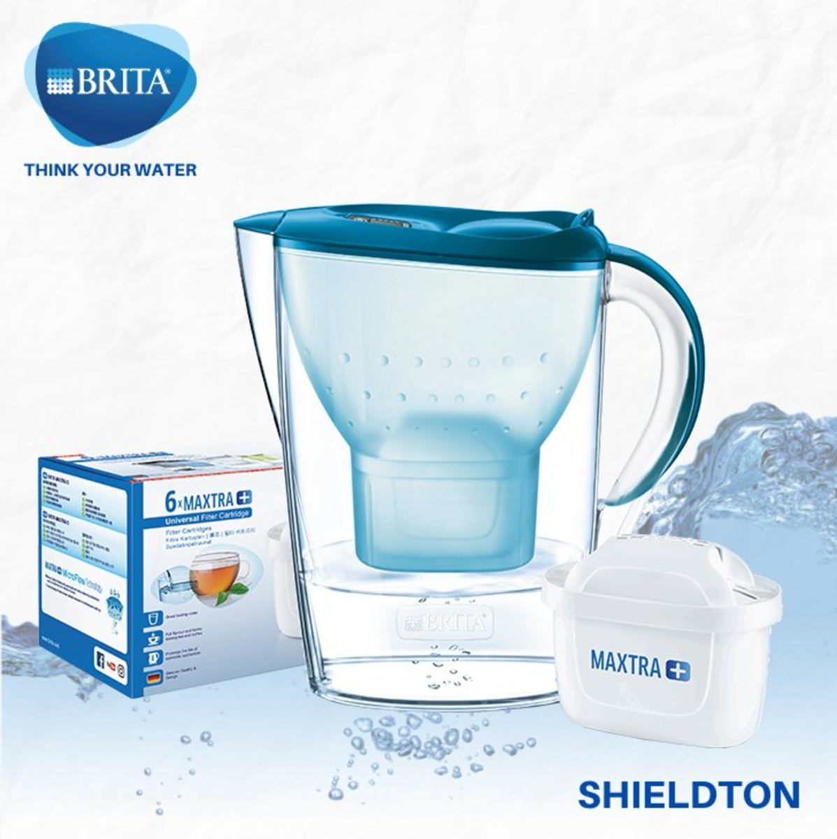 Marella 2.4L jug w/1 +6 filters (basic blue)