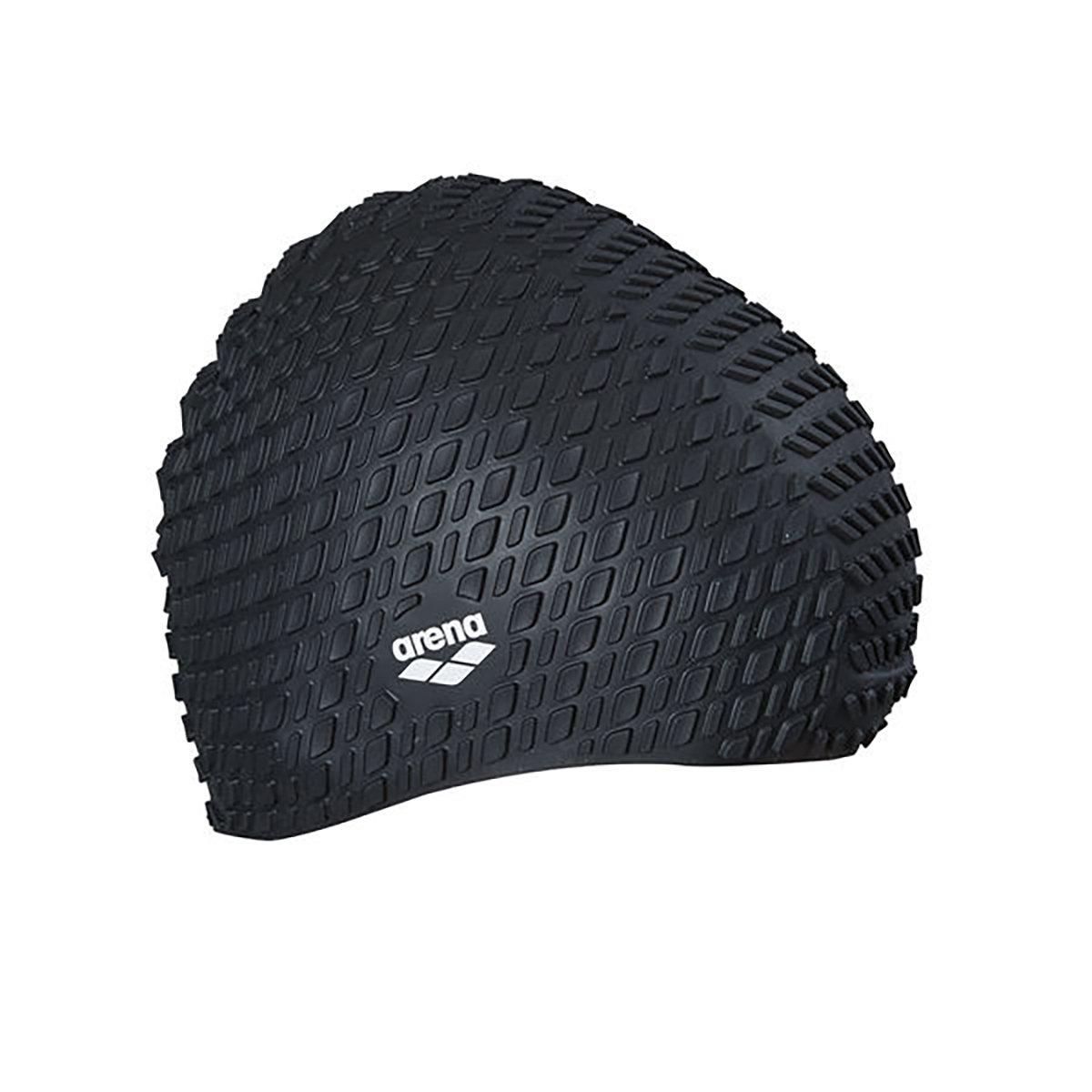 泡泡矽膠泳帽(長髮適用)-黑