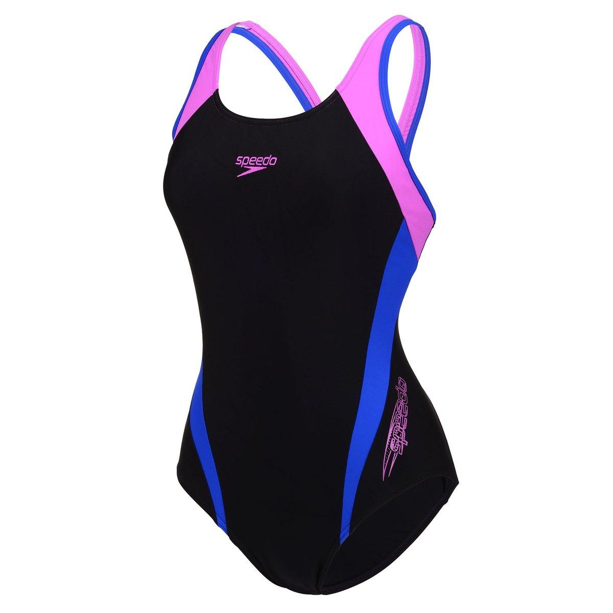 Ladies' Logo Splice Muscleback Swimsuit-Black / Pink