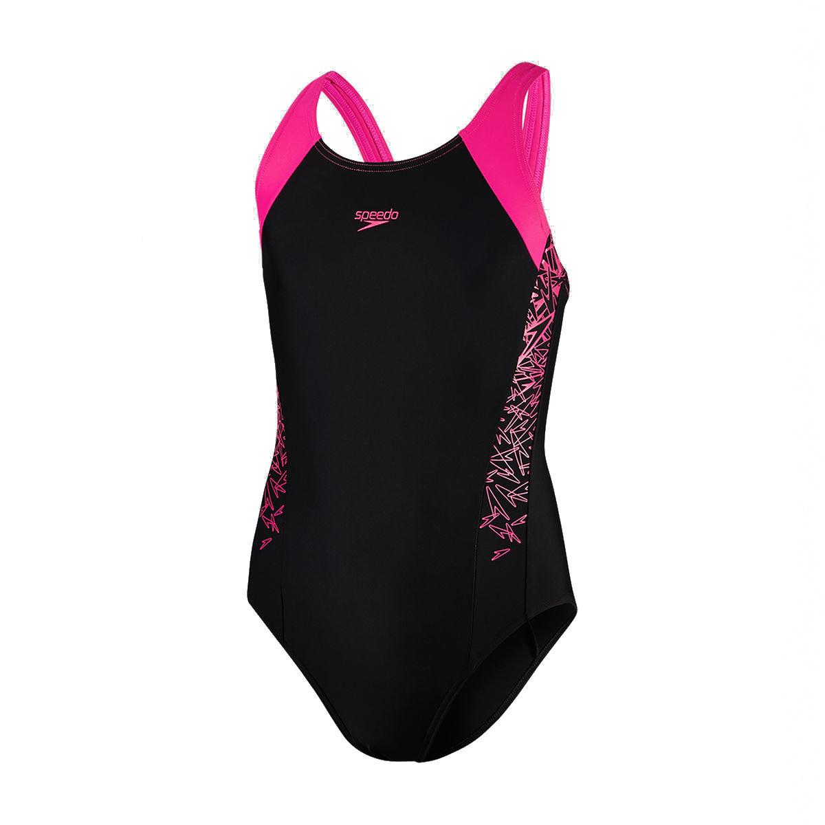 少女經典印花連身泳衣-黑/粉紅
