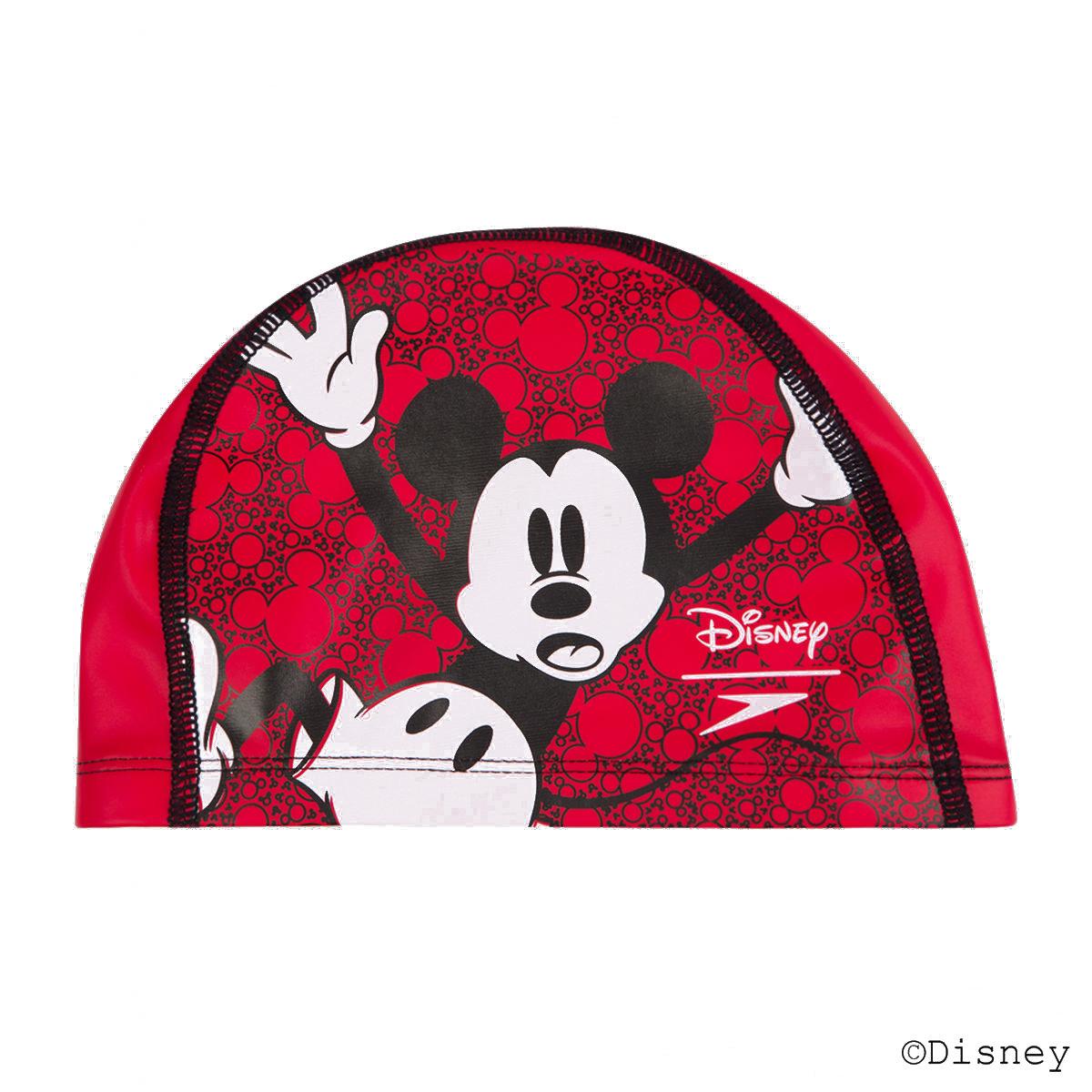 少年米奇老鼠PU塗層泳帽-紅 / 黑