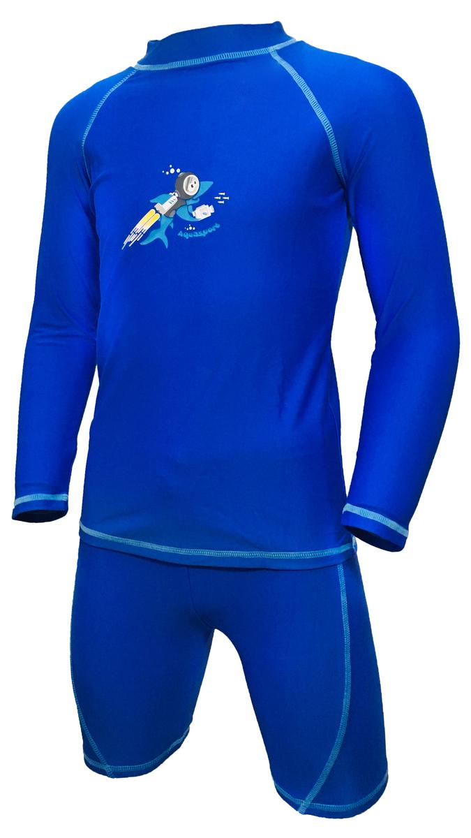 小童長袖防曬套裝-藍