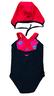 小童X背帶連身泳衣連泳帽 - 波點小甲蟲-黑