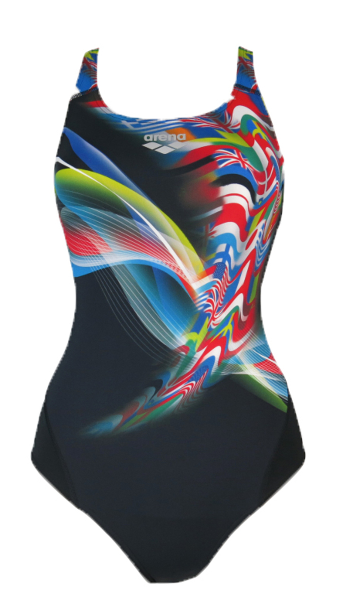 Ladies MaxLife XBack 1Pc Swimsuit - National Flag -Black
