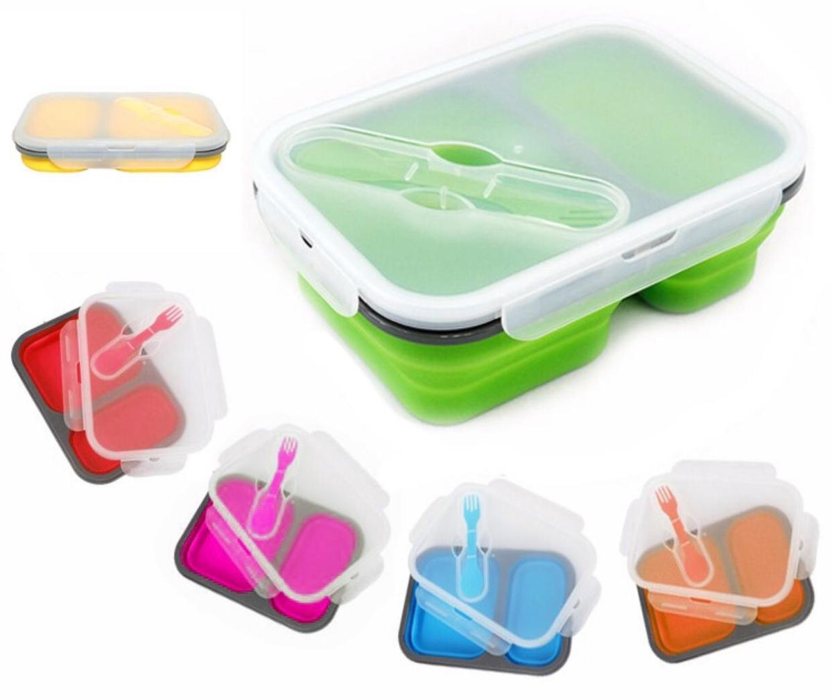 Foldable &f Easy-carrying Food Box (Green)