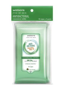 Watsons 抗菌清潔濕巾3包 (一包10片)