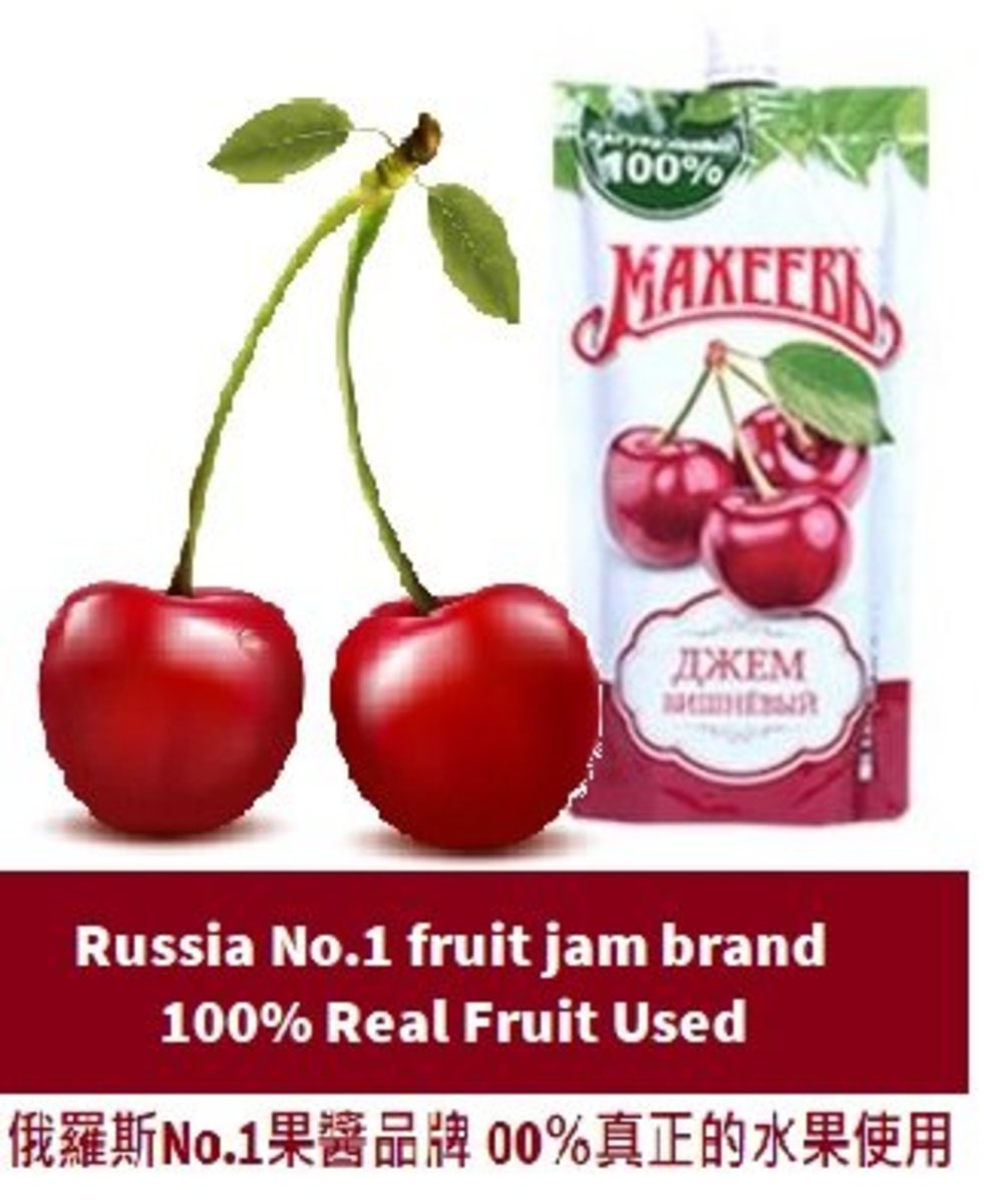 Russia No.1 fruit jam brand-100% Cherry Jam (Rich trace mineral, Anti-Aging)300g