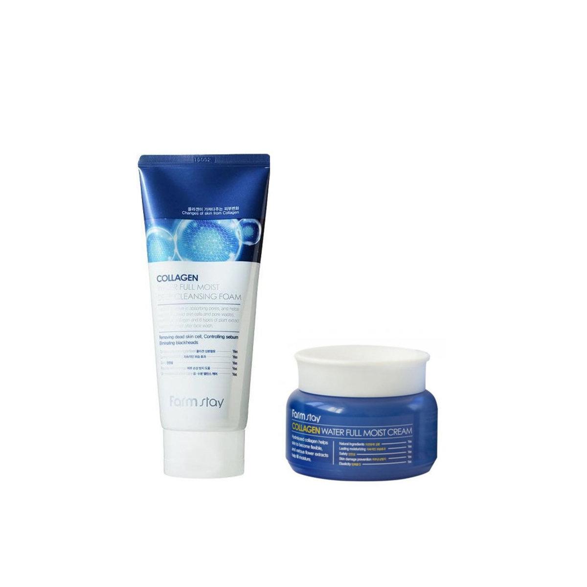 Farmstay Collagen Water Full Moist Deep Cleansing Foam 180ml +  Cream 100g [Parallel Import Product]