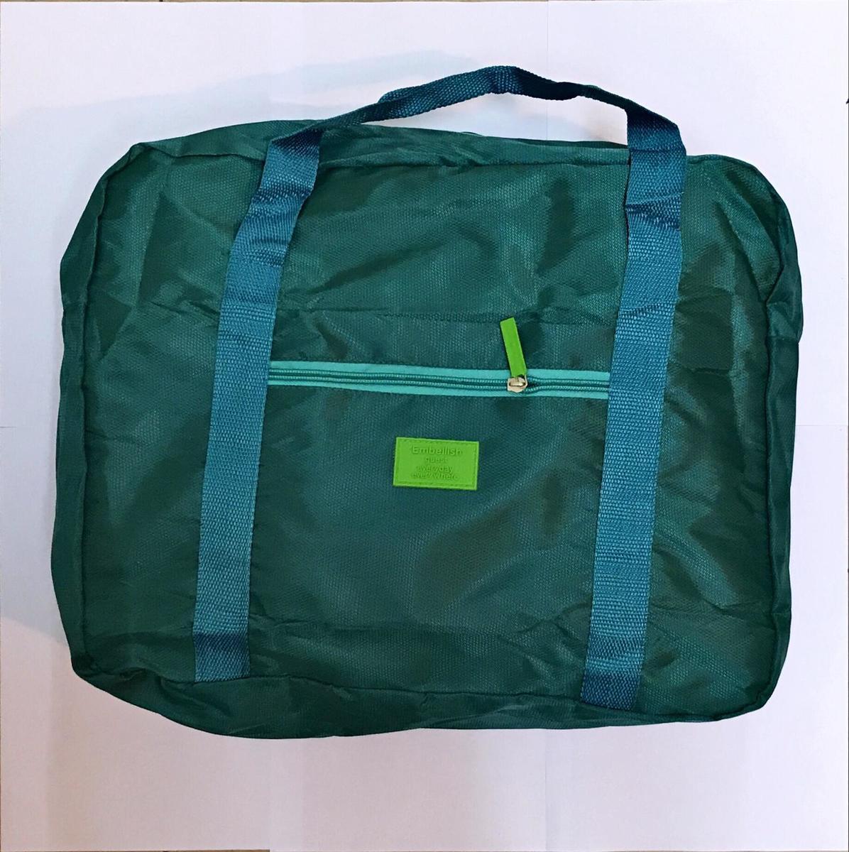 (Green) Korean Style Foldable Large Capacity Luggage Pull Handle Travel Bag
