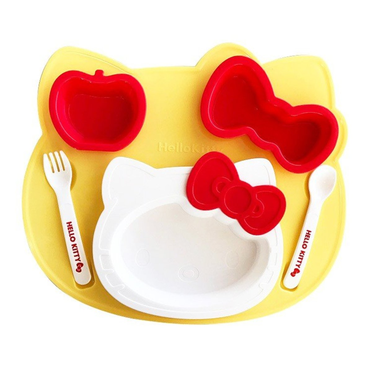 (Hello Kitty) (1 set of 6 pcs) Made in Japan Sanrio Kid's Plastic Cutlery Set
