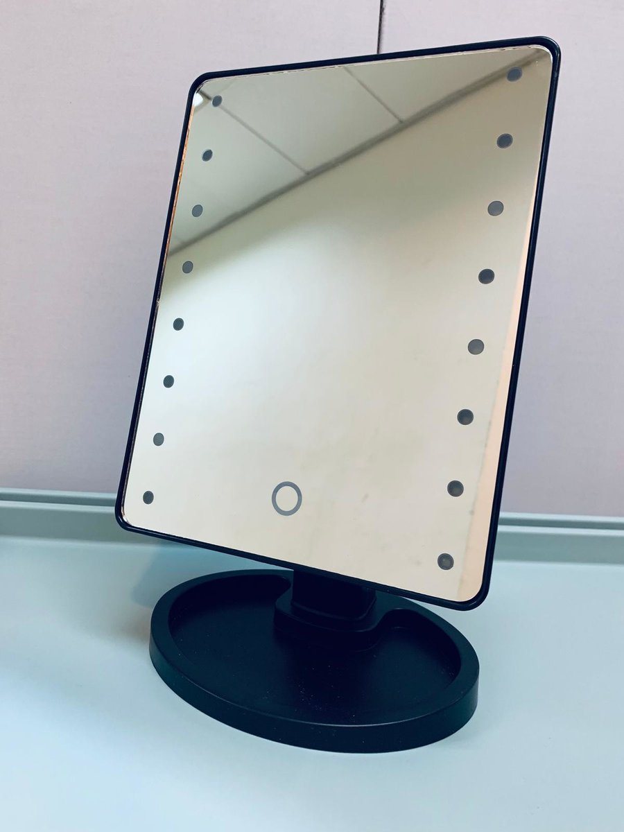(Black) Touch Screen LED Lighted Vanity Mirror