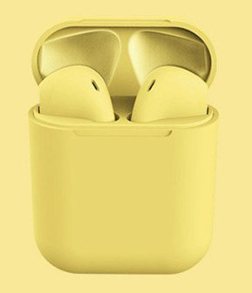 (Yellow) inPods12 Wireless Bluetooth Earphone for all Mobile Phones w/ Bluetooth Function