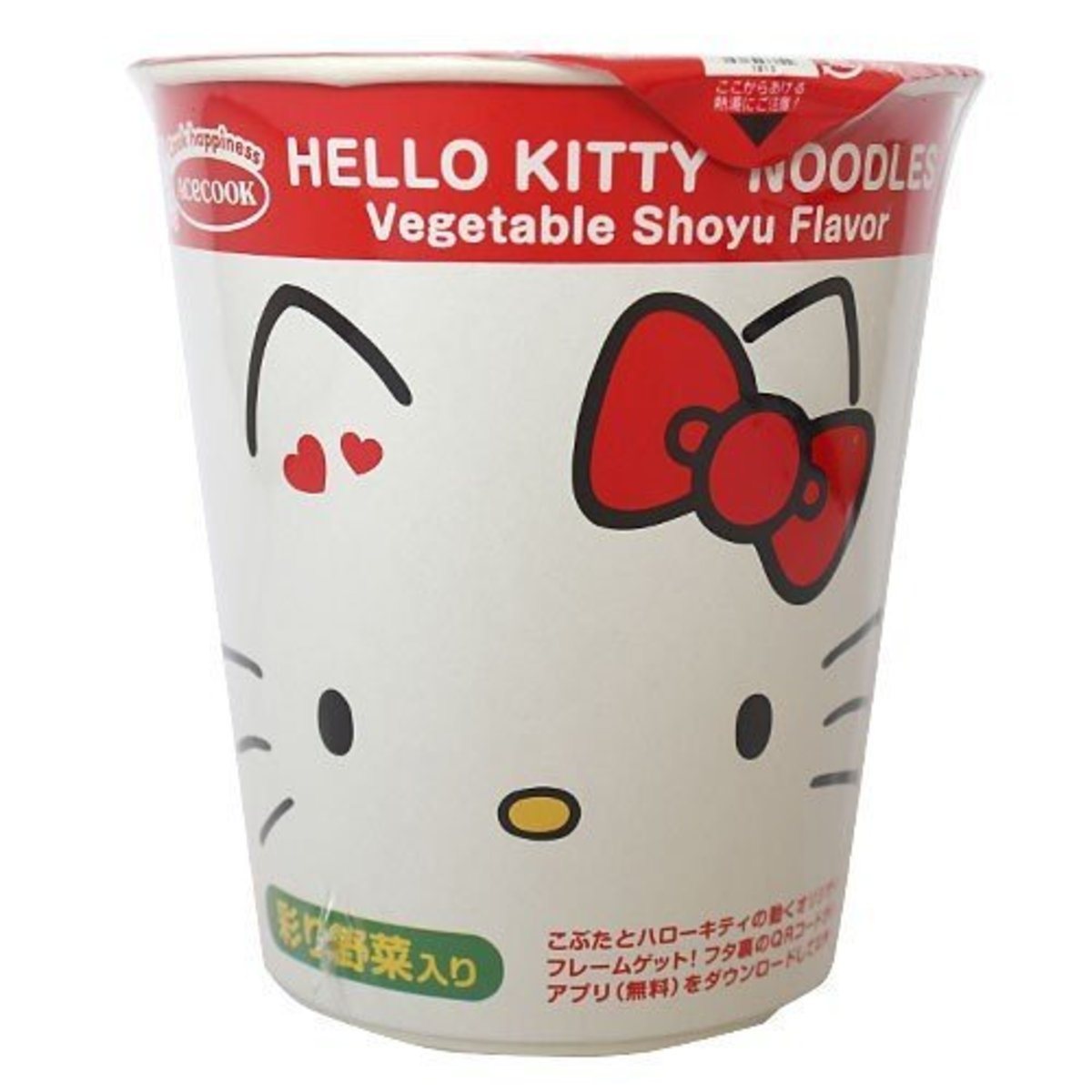 (Red) Japan ACECOOK Hello Kitty Vegetable Shoyu Flavor Cup Noodle x 1pc