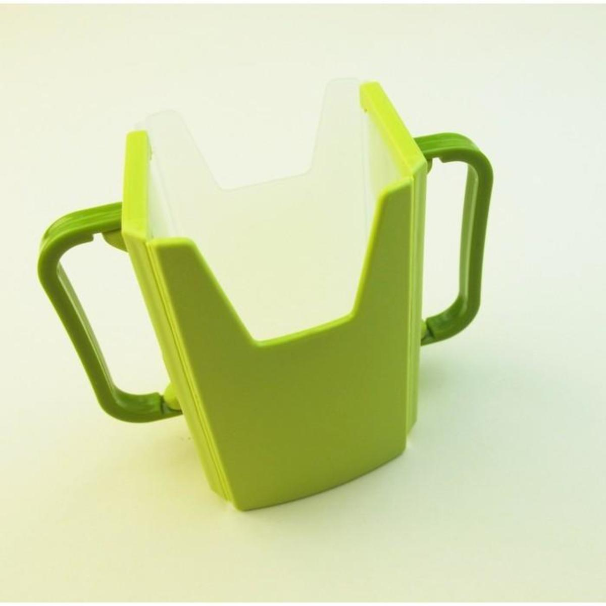 (Green) Paper Pack Drink Holder for Toddlers, Adjustable & Foldable (with Handle)