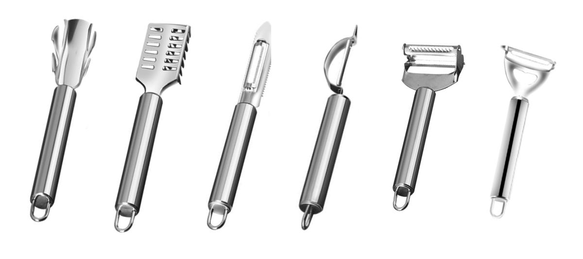 (1套6件) 韓式不銹鋼 魚鱗刮/刨皮/啤酒開等用具 (尾部掛鈎設計) x 1套