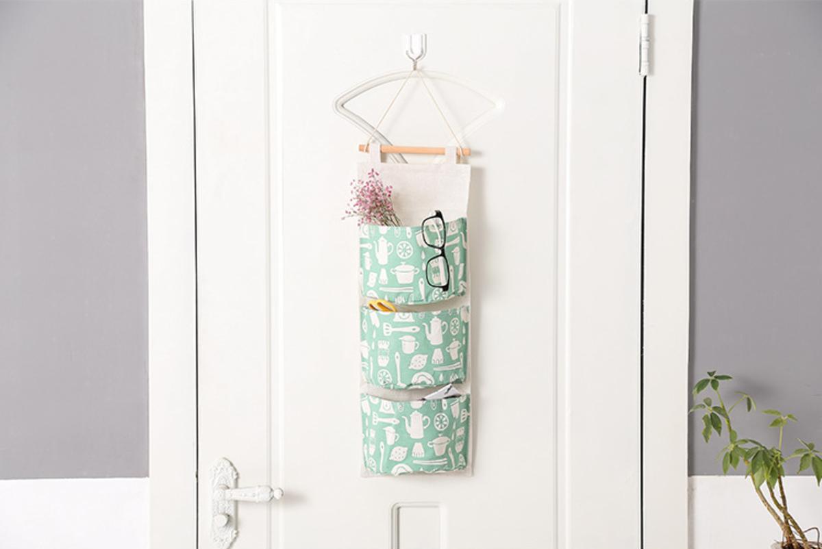 (淺綠色) 圖案多用途布藝儲物掛袋 / 信件收納袋