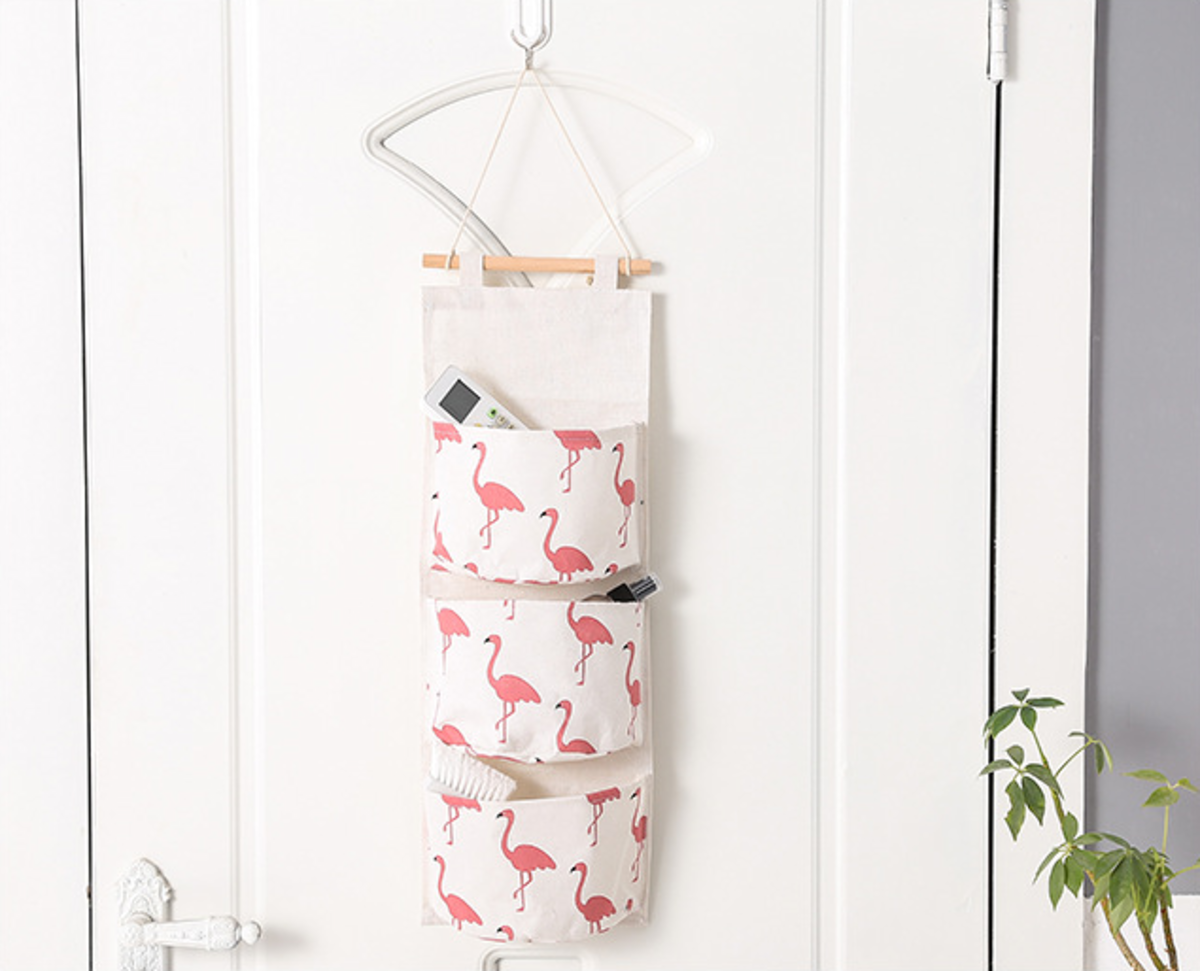 (Red Crane) Multi-function Fabric Hanging Storage Bag / Letters Holder