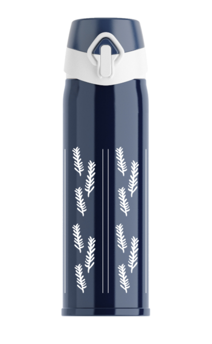 (Blue+Leaves) One Touch Stainless Steel Insulated Water Bottle w/ Safe Lock 500ml