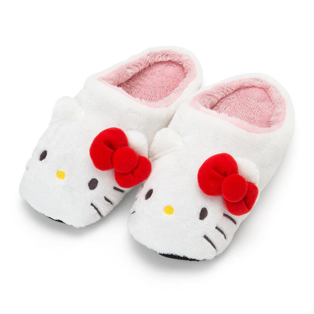 (Hello Kitty) Japan Sanrio Cartoon Fleece Slippers