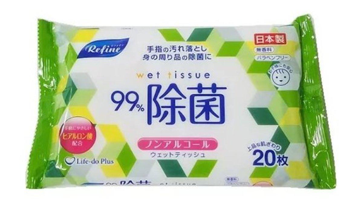 (綠色袋) 日本製造Refine 大枚 99%除菌 無酒精消毒濕紙巾 (20枚入) x 1包
