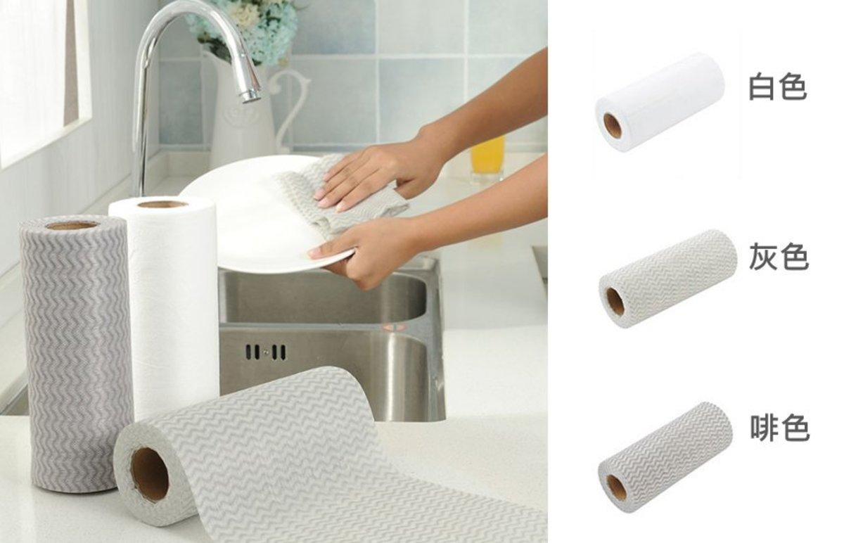 (白色碗布) 一次性即棄多用途 厨房洗碗/清潔抹布 (50枚入) x 1巻